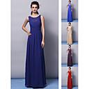 Vestido de Dama de Honor - Rojo/Uva/Azul Real/Champaña/Púrpura Corte Recto Escote Joya - Hasta el Suelo Gasa