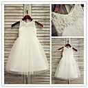 Flower Girl Dress - Linha-A Longuete Sem Mangas Renda/Tule