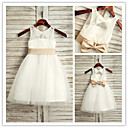 Flower Girl Dress Tea-length Lace/Tulle A-line Sleeveless Dress