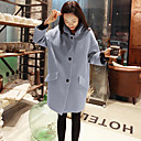 Women's Solid Blue / Pink / Red / Yellow Trench Coat , Casual Long Sleeve Wool
