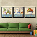 Coffee Room House Room Wall Art Wood Frame with Canvas with Plastic Organic Glass 3Pieces/set
