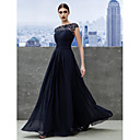 TS Couture Formal Evening Dress - Dark Navy A-line Bateau Floor-length Georgette