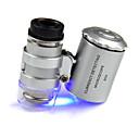 Microscópio menor do joalheiro 60X 2 LED Mini Microscópio de bolso Lupa Lupa Joalheiro