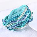 Lureme®Fashion Woven Leather Women's Multilayer Crystal Bracelets