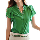 sólido azul / blanco / verde de la camiseta de las mujeres, con cuentas de manga corta v cuello ocasionales