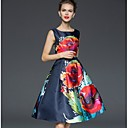 Women's Vintage Floral A Line Sheath Dress , Round Neck Knee-length