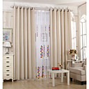 Two Panels Solid Living Room Linen Blackout Curtains Drapes