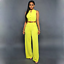 Women's Solid Blue / Pink / Yellow Jumpsuits,Casual / Day / Street chic Round Neck Sleeveless