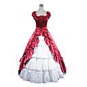 hihaton lattia-pituus punainen ja valkoinen satiini aristokraatti lolita mekko