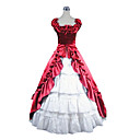 Sleeveless Vloer Lengte Red and White Satin Aristocrat Lolita Dress