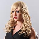 peruca de cabelo elegante longo desgrenhado ondulado humano remy virgem mão da mulher sem tampa amarrada-top
