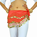 Dancewear Chiffon con 128 Copper Coins Belly Dance Hip Scarf for Ladies More Colors