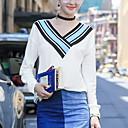 Mujer Simple Casual/Diario Verano / Otoño Camiseta,Escote en Pico Un Color / A Rayas Manga Larga Poliéster Blanco Fino