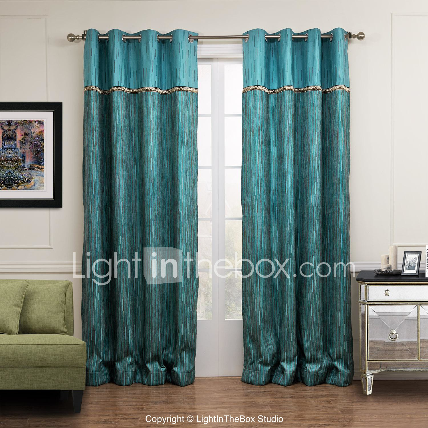 Two Panels Curtain Modern , Stripe Living Room Poly / Cotton Blend Material Curtains  Drapes Home