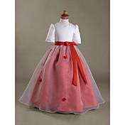 PAULINE - kukkaistytön organza ja satiini mekko