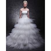 vestido de bola lanting novia de la boda pequeña / más tamaño vestido de barrido / cepillo tren sin tirantes de tul