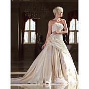 Lanting novia una línea pequeña / más tallas de ropa-catedral de novia de encaje sin tirantes de tren / tafetán