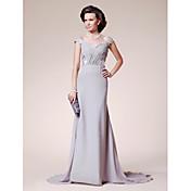 LAN TING BRIDE A-Linie Větší velikosti Malé Šaty pro matku nevěsty - Otevřená záda Velmi dlouhá vlečka Krátký rukáv Šifón Krajka -