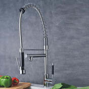 Solid Brass Spring Kitchen Faucet with Two Spouts (Chrome Finish)