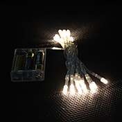 2m 20-luz LED blanca cálida de 2 modos LED String de hadas de la lámpara para la Navidad (3xAA)
