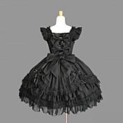 Egyrészes/Ruhák Gótikus Lolita Lolita Cosplay Lolita ruhák Fekete Egyszínű Ujjatlan Közepes hossz Ruha Mert Női Pamut