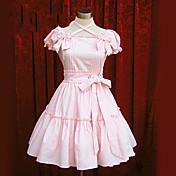 Una Sola Pieza/Vestidos Amaloli Lolita Cosplay Vestido  de Lolita Rosado Azul Piscina Un Color Manga Corta Longitud Mediana Vestido por