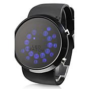 Hombre Reloj de Pulsera Digital LED Silicona Banda Negro