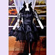 Una Sola Pieza/Vestidos Gosurori Lolita Cosplay Vestido  de Lolita Encaje Manga Corta Longitud Mediana Vestido Tocados Guantes Arco Cola