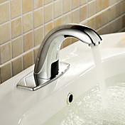 コンテンポラリー センターセット タッチ/タッチレス with  セラミックバルブ 一つ ハンズフリーつの穴 for  クロム , バスルームのシンクの蛇口