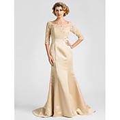 Lanting Bride® Mořská panna Větší velikosti / Malé Šaty pro matku nevěsty Dlouhá vlečka Poloviční rukáv Krajka / Satén - Korálky