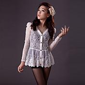 ZHI YUAN cuello V plisada camisa de encaje (más colores)