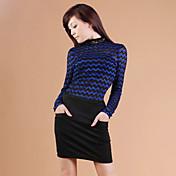 ZHI YUAN Collar delgado soporte Wave Pattern Lace Shirt (más colores)