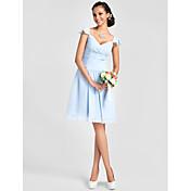 una línea de princesa v-cuello longitud de la rodilla gasa vestido de dama de honor con rebordear drapeado por lan ting bride®