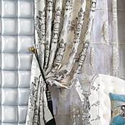 二つのパネルミシェルluxury®フェイクシルクジャカード花の伝統的なカーテン