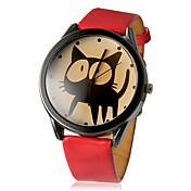Mujer Reloj de Moda Cuarzo PU Banda Caricaturas Negro Blanco Rojo Blanco Negro Rojo