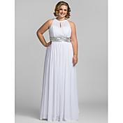 シース/コラムハイネックフロアレングスシフォンウエディングドレス(tscouture®byクリスタル)