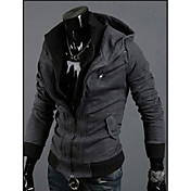 QNメンズダークグレーパーカーコントラストカラーファッションシャツ