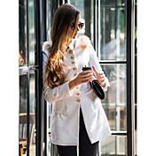 女性 冬 ソリッド コート レッド / ホワイト / グリーン / オレンジ ウール / ポリエステル 長袖
