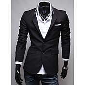 Seey Hombres Traje Negro Personalidad de tela de bolsillo