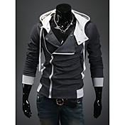 DJJM Hombres Moda Ocio Suspensión capucha cultiva su moralidad Cardigan Fleece Coat (gris oscuro)