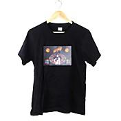 Camiseta De los hombres Estampado-Casual-Algodón-Manga Corta-Negro