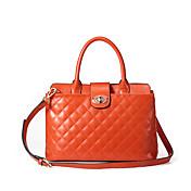 MEFAs Elegante Raute-Muster-echtes Leder Tote / Crossbody-Tasche (Orange)