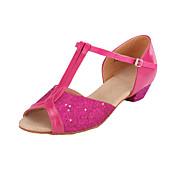 Zapatos de baile-No Personalizables-Mujer Niños-Latino Salón-Tacón Cuadrado-Brillantina-