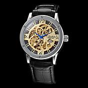 Hombre Reloj de Pulsera El reloj mecánico Cuerda Automática Huecograbado PU Banda Negro Dorado Negro