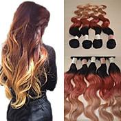 20inch velké 5a brazilský panenský lidské vlasy tělo vlna ombre prodlužování vlasů / vazba (1b/33 # / # 27)