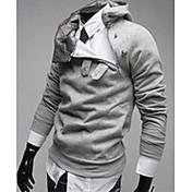 Vの高級毛皮の襟の厚みのパーカー(ライトグレー)