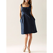 Lanting Knee-length Taffeta Bridesmaid Dress - Dark Navy Plus Sizes / Petite Sheath/Column Scoop