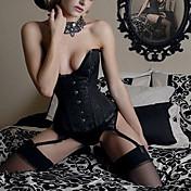 Žene Korzet Noćno rublje Jednobojni-Saten Crna