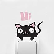 動物の漫画猫が壁のステッカーを貼り付け