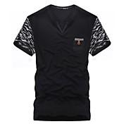 男性用 プリント カジュアル Tシャツ,半袖 コットン,ブラック / グレー
